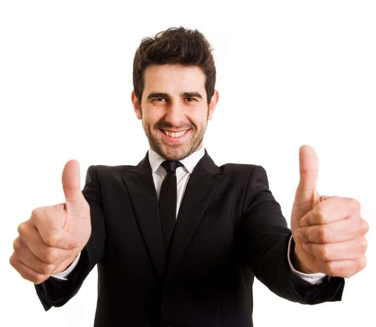 man with two thumbs up